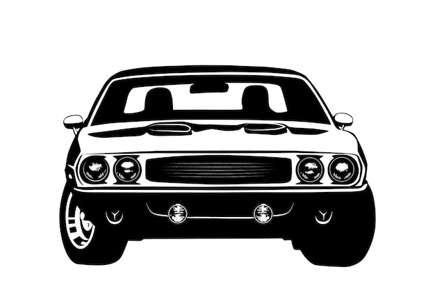 American muscle car legend silhouette Premium Vector