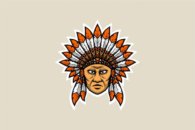 American native feather chief head Premium Vector