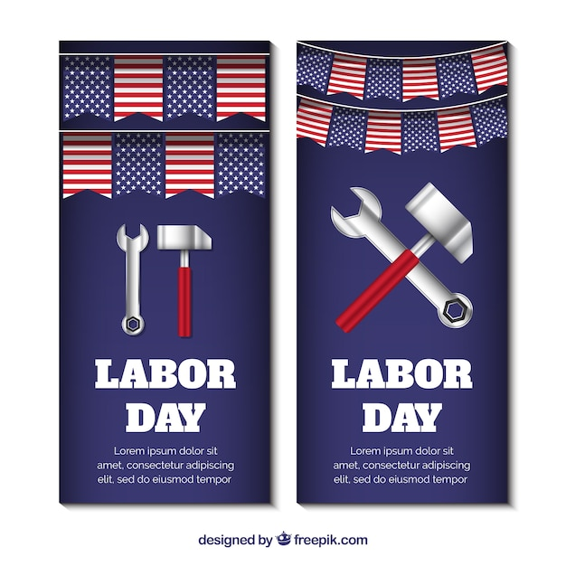 American of labor day banners with tools