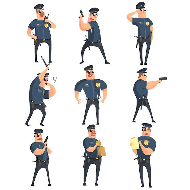 American policeman funny characters set Premium Vector