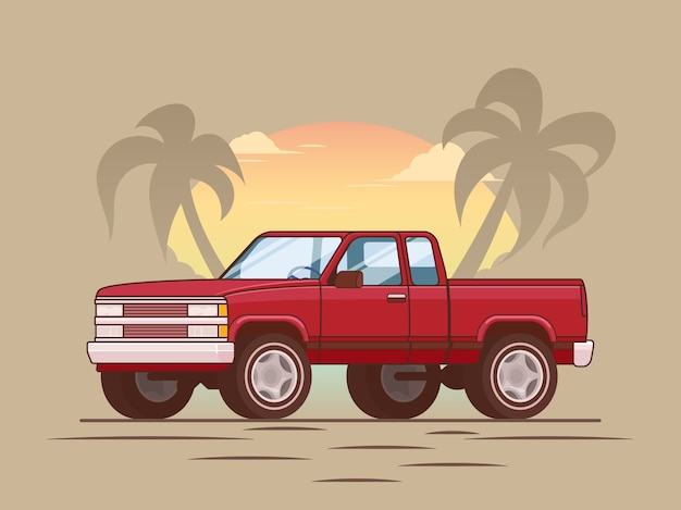 American red modern pickup truck concept Free Vector