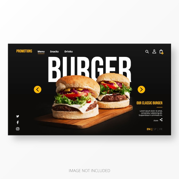 American restaurant landing page template Free Vector