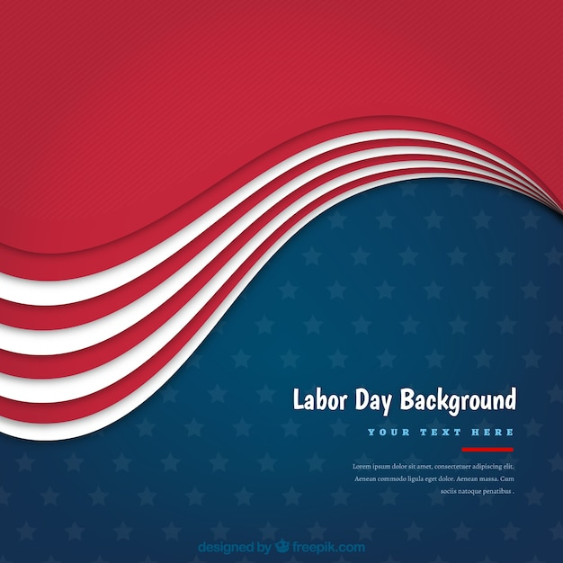 American retro labor day background with wave
