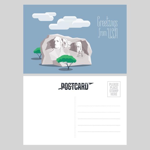 テンプレートポストカードイラストでアメリカのラシュモアマウント。アメリカへの旅行の概念のために米国から送信された航空便カードの要素 Premiumベクター