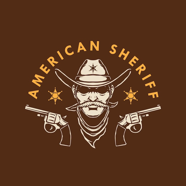 American sheriff logo design Premium Vector