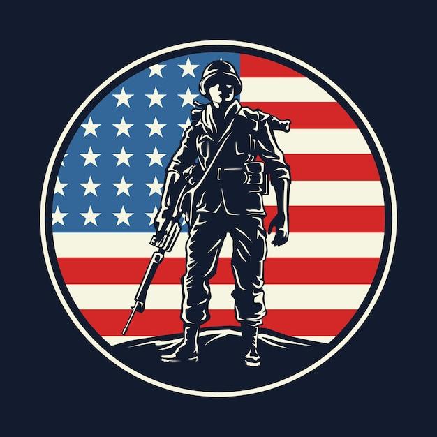 アメリカの兵士のバッジのグラフィック Premiumベクター