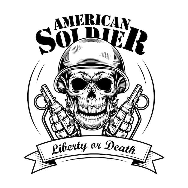 アメリカの兵士の頭蓋骨のベクトルイラスト。タンクマンヘルメットのスケルトンの頭、2つの手榴弾、自由または死のテキスト。エンブレムやタトゥーテンプレートの軍事または軍の概念 無料ベクター