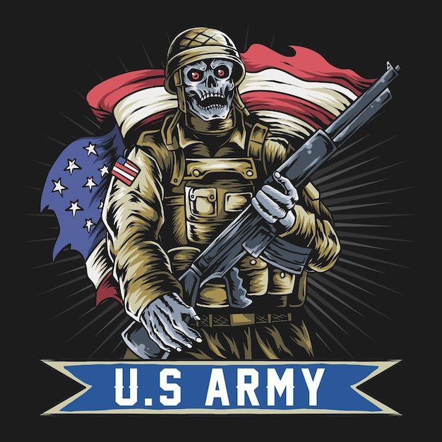 Американский солдат с лицом черепа держит пулемет и флаг сша. Premium векторы
