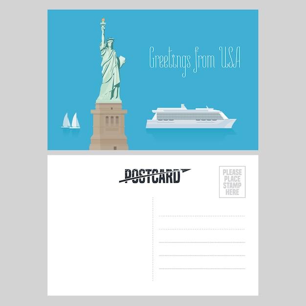 アメリカの自由の女神像。有名なランドマークとアメリカへの旅行の概念のために米国から送信された航空便カードの要素 Premiumベクター