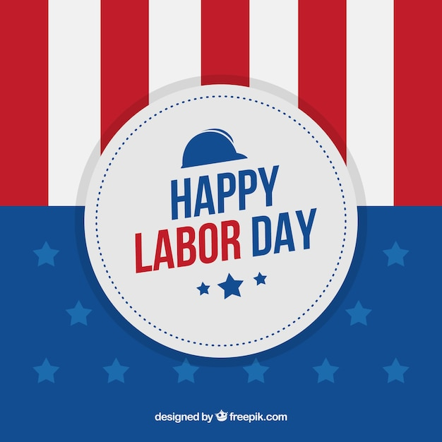 American striped background with labor day\ badge