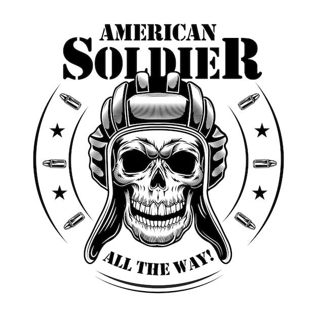 미국 유조선 해골 벡터 일러스트입니다. 탱크 맨 모자의 해골, 별과 총알이있는 원형 프레임, 모든 텍스트를 치유합니다. 엠블럼 또는 문신 템플릿에 대한 군대 또는 군대 개념 무료 벡터