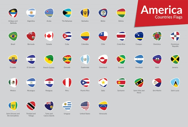 American vector flags icon collection Premium Vector