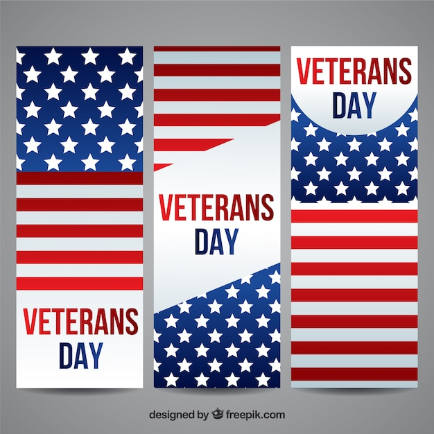 American Veterans Day Banners Vector Free Download