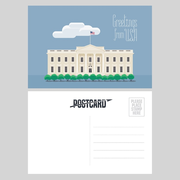 アメリカのホワイトハウスのイラスト。有名なランドマークとアメリカへの旅行の概念のために米国から送信された航空便カードの要素 Premiumベクター
