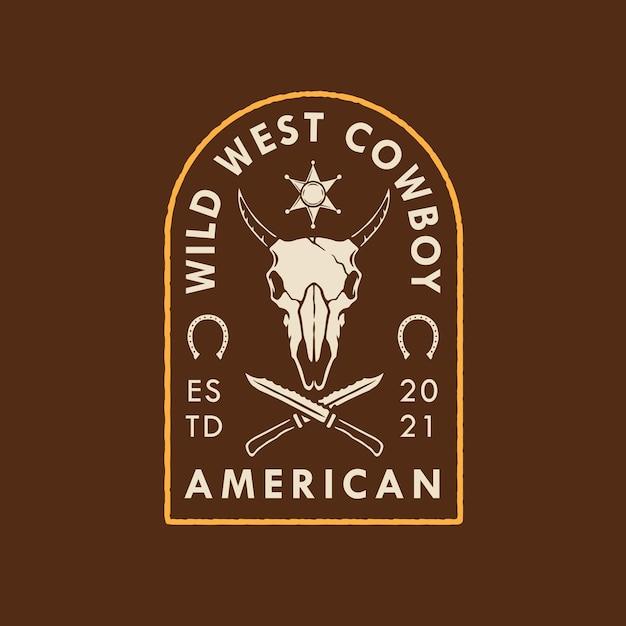 American wild west cowboy logo design Premium Vector