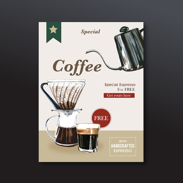 Americano coffee poster discount, template modern, watercolor illustration Free Vector