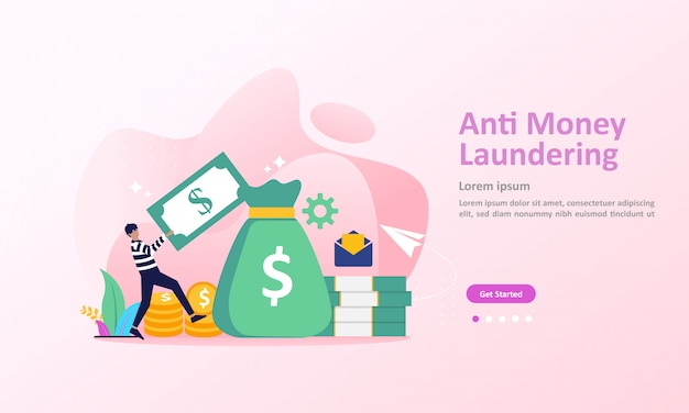 Aml, stop corruption and illegal business landing page Premium Vector