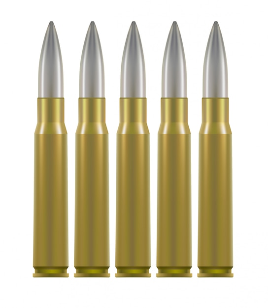 Ammo cartridges. brass cases with silver bullet inside. Premium Vector