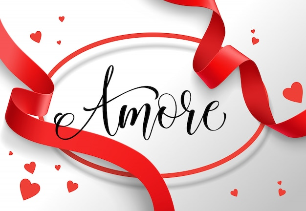 Amore lettering in oval frame with red ribbon Free Vector