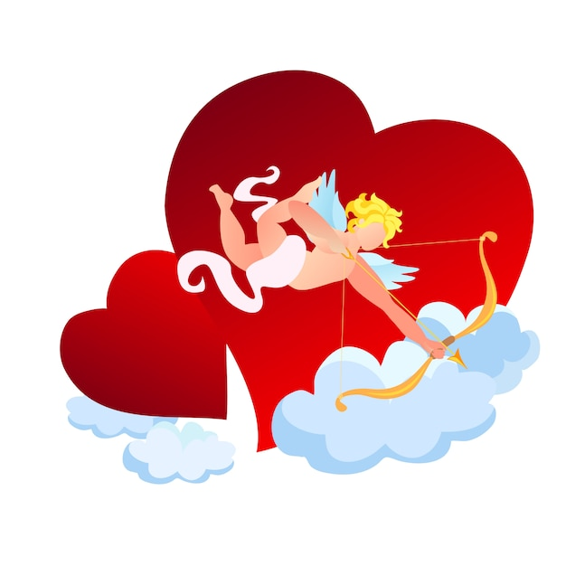 Amour or cupid with golden bow and arrow in sky Premium Vector
