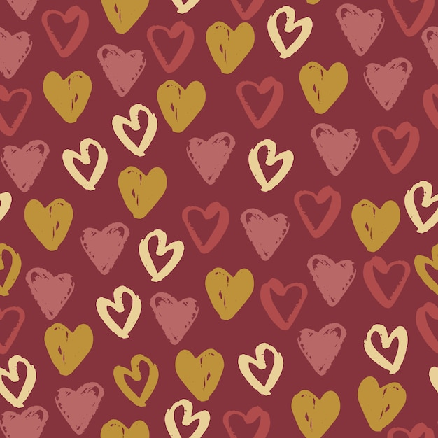 Amour heart elements seamless pattern. Premium Vector