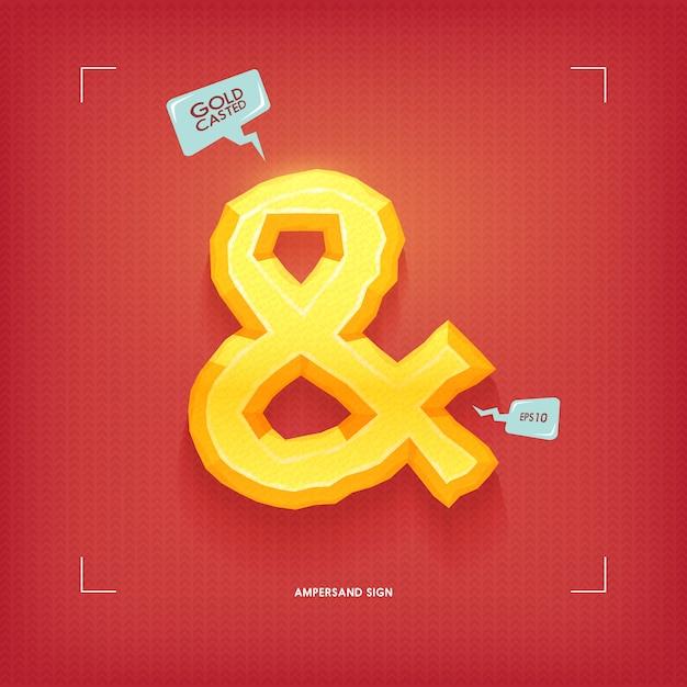 Ampersand symbol. golden jewel typeface element. gold casted.  illustration. Premium Vector