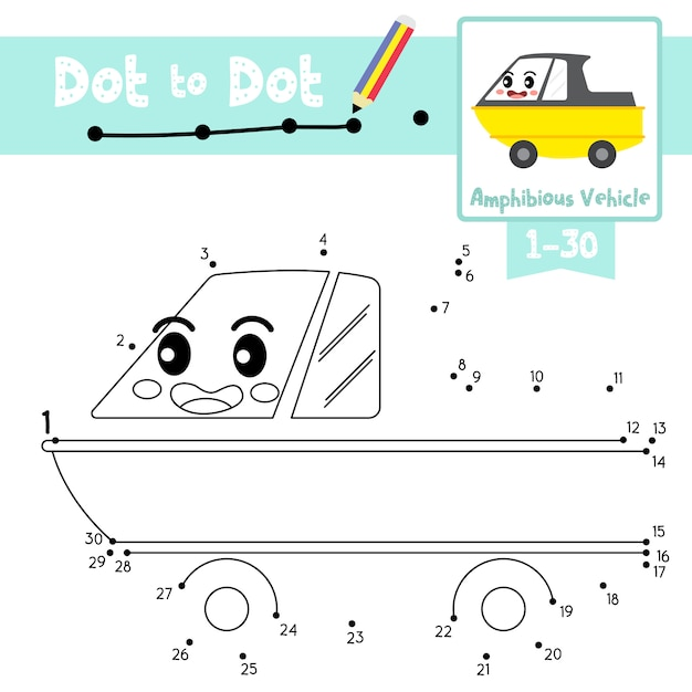 Amphibious vehicle dot to dot game and coloring book Premium Vector