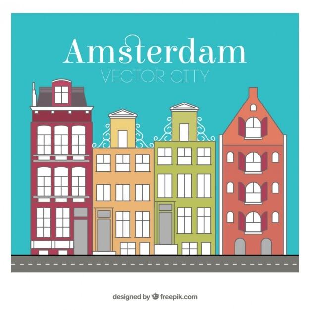 Amsterdam city buildings Free Vector