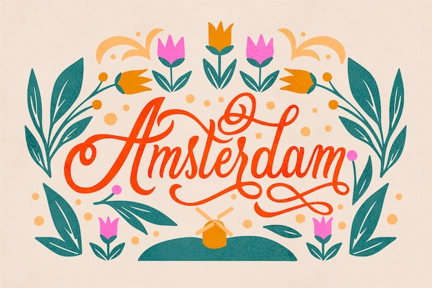 Amsterdam city lettering Free Vector