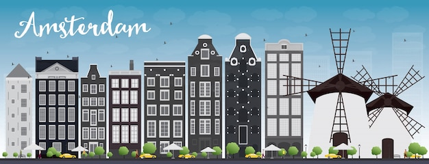 Amsterdam city skyline with grey buildings and blue sky Premium Vector