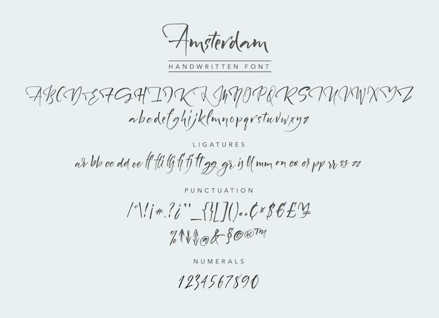 암스테르담 필기체 글꼴 무료 벡터