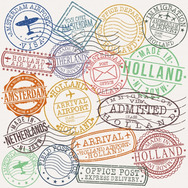 Amsterdam holland postal passport quality stamp Premium Vector