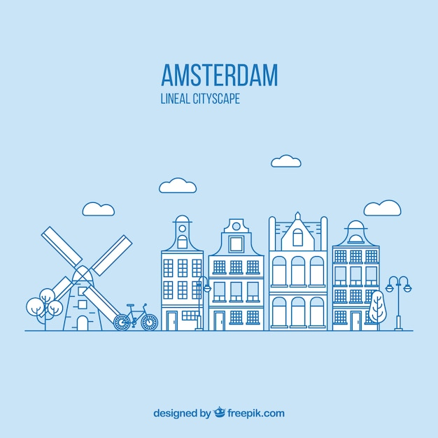 Amsterdam in lineal style background Free Vector