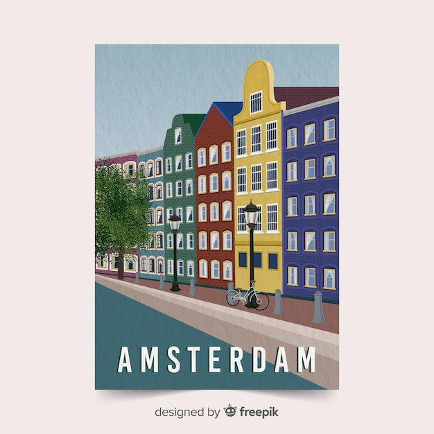 Amsterdam promotional poster template Free Vector