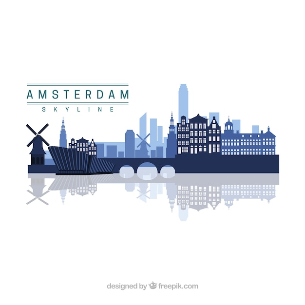 Amsterdam skyline design Free Vector