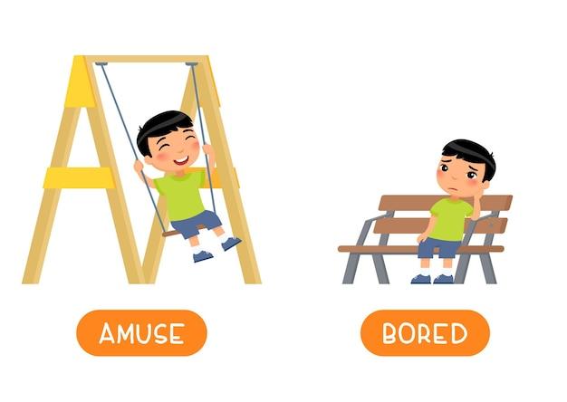 즐거움과 지루한 반의어 단어 카드, 반대 개념. 무료 벡터