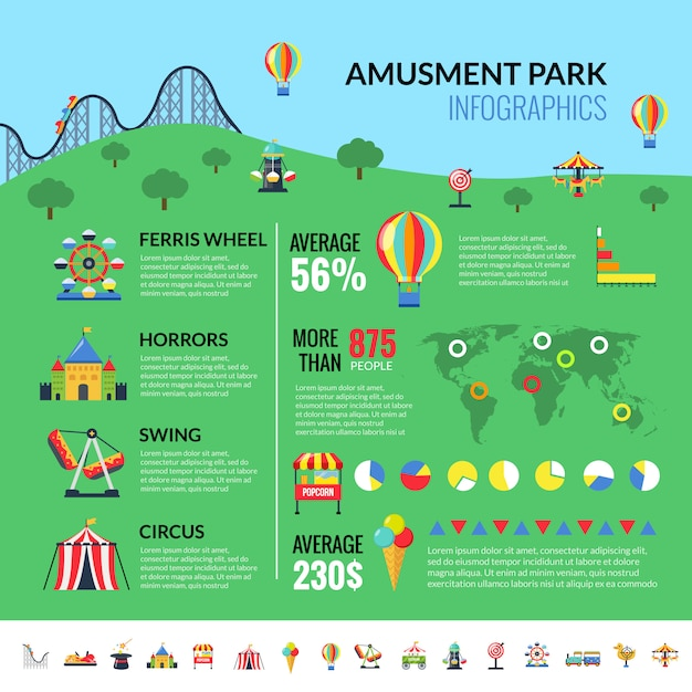 Amusemennt park attractions visitors infographics Free Vector