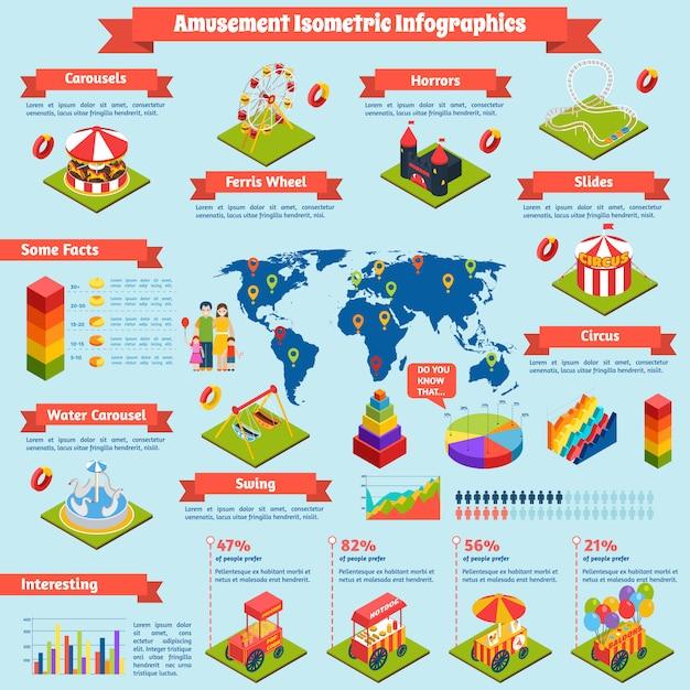 Amusement isometric infographics Free Vector