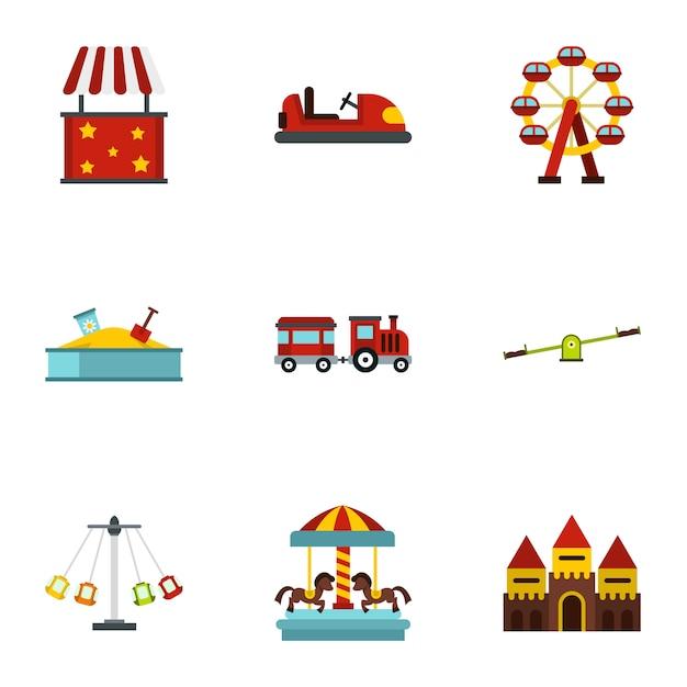 Amusement park attractions set, flat style Premium Vector