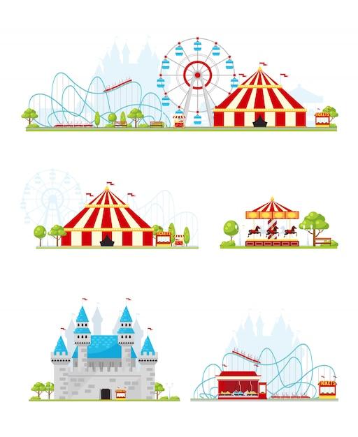 Amusement park banner set Free Vector