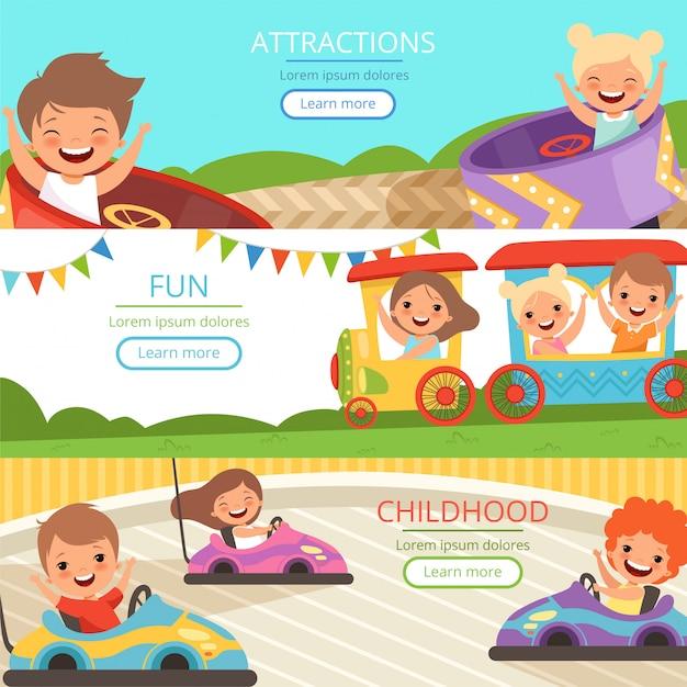 遊園地のバナー。家族や幸せな子供たちのウォーキングやさまざまなアトラクションでゲームをプレイベクトル漫画テンプレート Premiumベクター