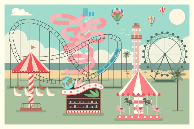 Amusement park on the beach with kid carousel, ferris wheel, water slides and balloons. vector flat summer illustration. Premium Vector