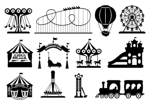Amusement park black glyph set. carousel silhouette cartoon style. fairground, rollercoaster, carousel horse, air balloon, ferris wheel kid fun time. circus marquee summer leisure. illustration Premium Vector