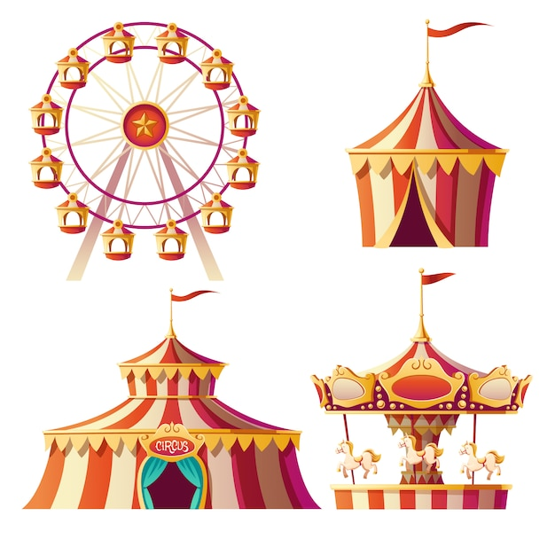 Amusement park, carnival or festive fair cartoon Free Vector