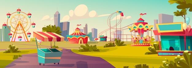 Amusement park, carnival or festive fair cartoon Free Vector