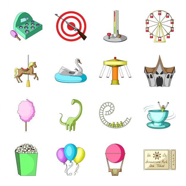Amusement park  cartoon set icon. isolated cartoon set icon circus and carousel.  illustration amusement park  . Premium Vector