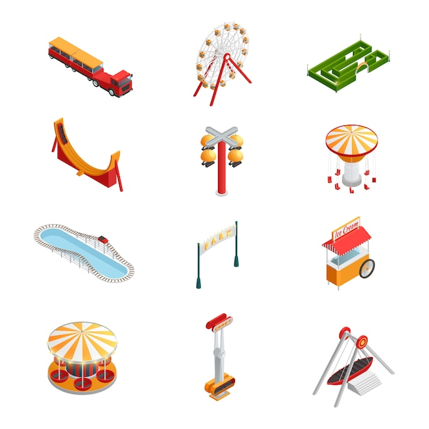 Amusement park for children Free Vector