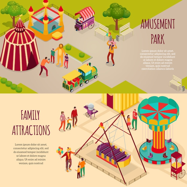 Amusement park circus artists and family attractions set of horizontal isometric banners isolated illustration Free Vector