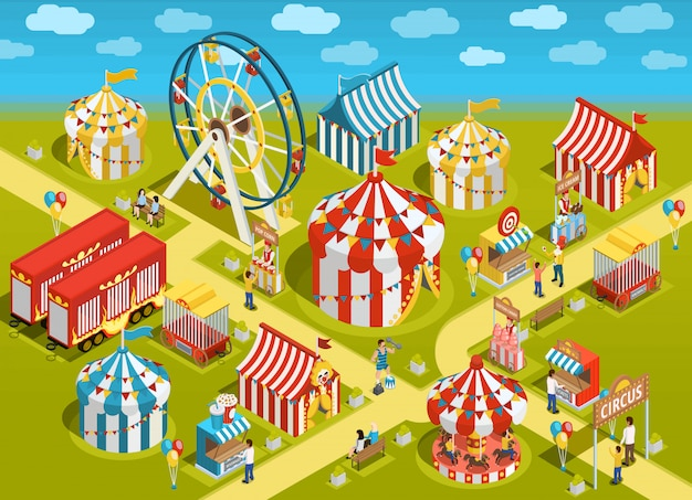 Amusement park circus attractions isometric illustration Free Vector