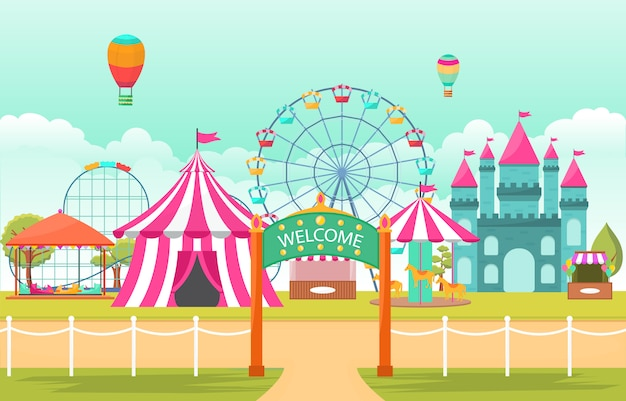 Amusement park circus carnival festival fun fair landscape illustration Premium Vector